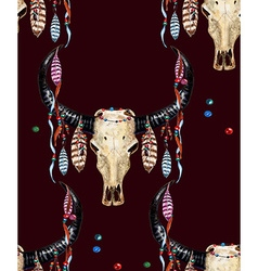 Buffalo Skull and Feather pattern3 vector image vector image