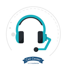 call center headset communication client vector image vector image