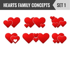 Hearts family concepts Set 1 vector image