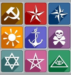 Icons of the different symbols vector image vector image