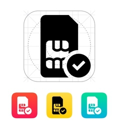 SIM card with accept sign icon vector image