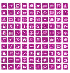 100 pensil icons set grunge pink vector