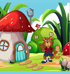 A bear with vegetable basket in fantasy land vector
