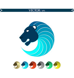 abstract lion logo blue edition vector image