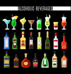 Alcoholic beverages icons set vector