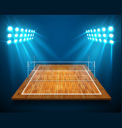 an of hardwood perspective vollyball field court vector image