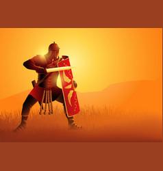 Ancient rome legionnaire in a position ready vector