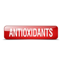 Antioxidants red square 3d realistic isolated web vector