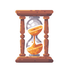 antique wooden hourglass flat icon vector image