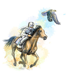 arab man gallops a horse hunting with a falcon vector image