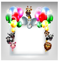 Balloons decoration for you design and animal cart vector