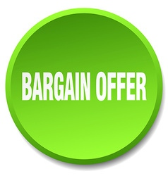 Bargain offer green round flat isolated push vector