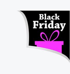 black friday paper corner gift box icon big vector image