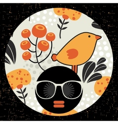 Black head woman in retro sunglasses vector
