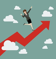 Business woman standing on a growing graph vector image