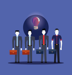 businessmen group with business briefcase bulb vector image