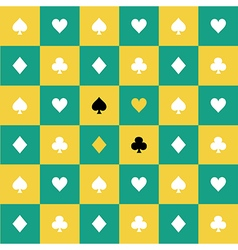 Card Suits Yellow Green Chess Board Background vector
