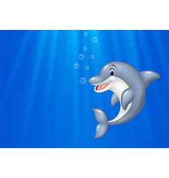 Cartoon dolphin swimming in the ocean vector