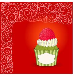 cartoon sweet cupcake and doodle boho pattern vector image