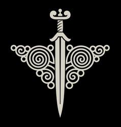 Celtic scandinavian design viking sword vector