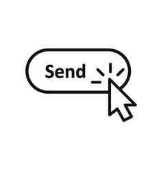 click cursor clicking send button icon vector image