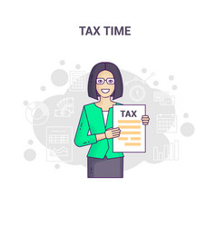 Conceptual banner reminder on tax time flat line vector