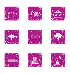 Construction project icons set grunge style vector
