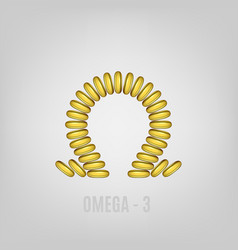 Cosmetic capsule of omega 3 oil golden antibiotic vector