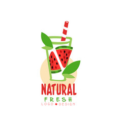 Creative logo for natural drink from fresh vector