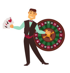 Croupier in work suit with play cards and roulette vector