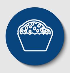 cupcake sign white contour icon in dark vector image
