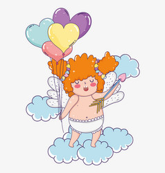 cupid with arrow and hearts balloons in the clouds vector image