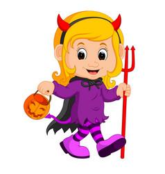 Cute devil girl cartoon vector