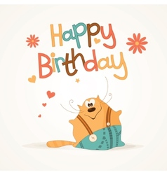 Cute happy birthday card vector