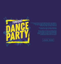 Dance party 90s influenced typographic web banner vector