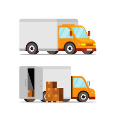 Delivery box car transportation vector