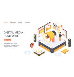 digital media platform landing page isometric vector image
