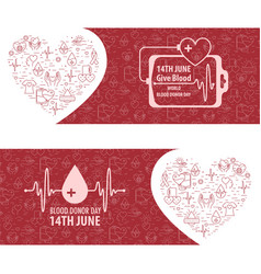 Donation blood day banner vector