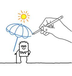 Drawing hand and cartoon character - heat protect vector