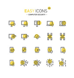Easy icons 43d computer security vector