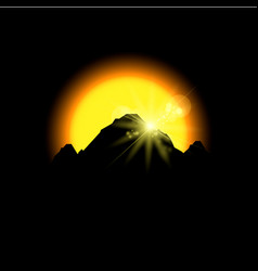 Eclipse sunset in space mountains vector