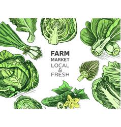 eco shop farm product sketch vegetables vector image