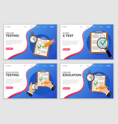 education test landing page template vector image