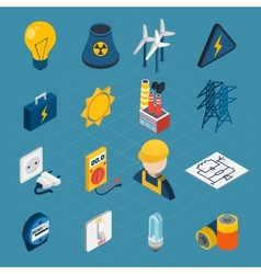 Electricity Isometric Icons vector