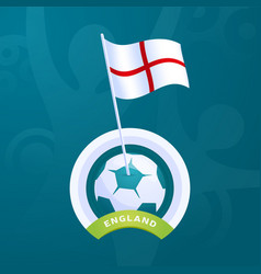 england flag pinned to a soccer ball european vector image