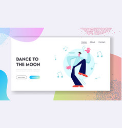 excited male dancer character happily spend time vector image