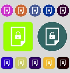File unlocked icon sign 12 colored buttons flat vector