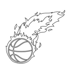 Fireballbasketball single icon in outline style vector