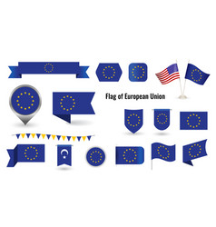 flag european union big set icons vector image