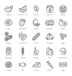 Food allergens simple allergen icons alcohol vector